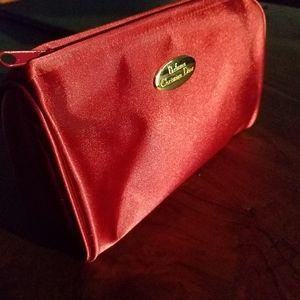 Dior Red Gold Logo Satin Makeup Bag Case Unused